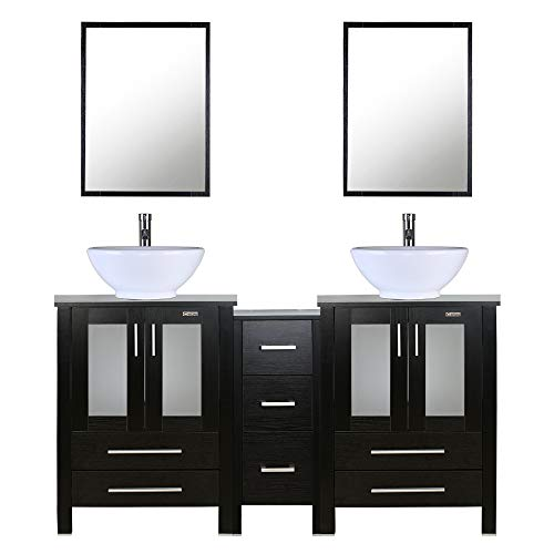"60""Double Vanity(2 24"" Vanity,2 Porcelain Vessel Sink Combo(Round),1Side Cabinets),Double Bathroom Vanity Top With Porcelain White Sink with Overflow,1.5 GPM Faucet/Drain parts/Mirror includes"