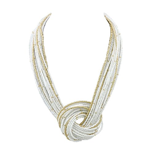 Bocar White Seed Beads Multilayer Chunky Bib Statement Knot Necklace - Stone Necklace Chunky
