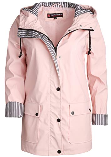 Urban Republic Women\'s Lightweight Vinyl Hooded Raincoat Jacket, Baby Pink, Small'