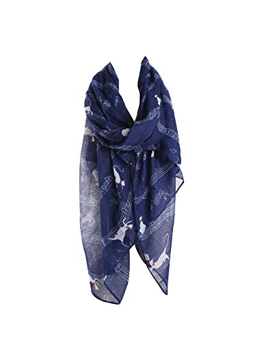 Bufanda para para estampado marino con gato Nota velcro de Bufanda estampado mujer Azul Wrap Acvip Shrapl 0R1UR