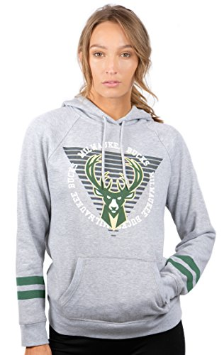 NBA Milwaukee Bucks Women's Fleece Hoodie Pullover Sweatshirt Varsity Stripe, Large, Gray