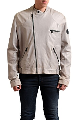 236e0bc81cde8 Gianfranco Ferre GF Men's 100% Leather Slim Fit Ivory Jacket US 2XL IT 58;
