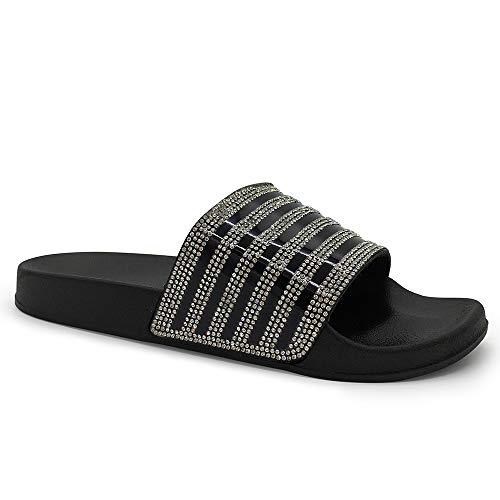 FUNKYMONKEY Women's Slides Rhinestone Glitter Slip On Footbed Platform Sandals (9 B(M) US, ()