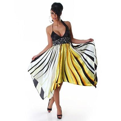 779109f04984 Unbekannt Damen Kleid Party Abendkleid Satin-Kleid Cocktailkleid  V-Ausschnitt Streifen Gelb 34 36  Amazon.de  Bekleidung
