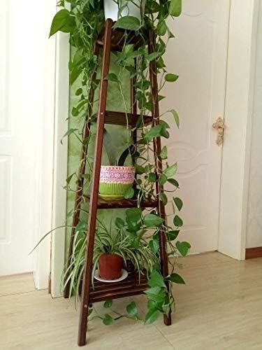 LINlq 多層多肉植物ディスプレイラック、屋内バルコニー床置き118センチメートル(H)4ティア木製フラワーポットストレージシェルフ