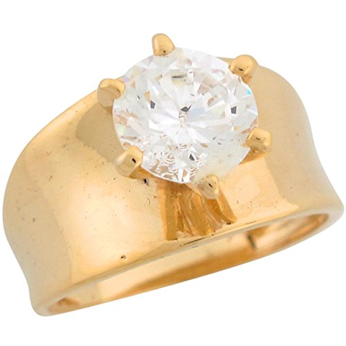 14k Yellow Gold Round Cut White CZ Wide Band Ladies Engagement Ring (14k Gold Wide Band Ring)