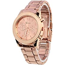 Winhurn Hot Sale Classic Stainless Steel Quartz Women Wrist Watch (Rose Gold)