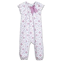 Feather Baby Girls Clothes Pima Cotton Short Sleeve Bow One-Piece Jumpsuit Baby Romper