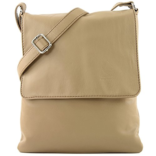 leather ital de ladies T33 Messenger modamoda Beige Dark bag Shoulder bag q0dW45