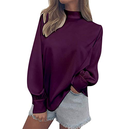 - Franterd Chiffon Blouse for Women Pure Color Turtle Neck Solid Simple Aumtun Tops Pullover