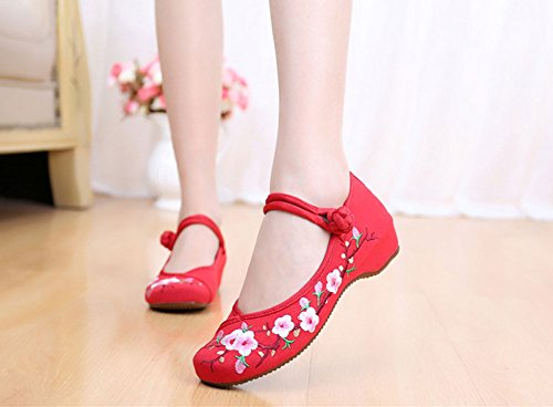 Sole Classics Casual Avacostume Embroidery Rubber Shoes Flats Womens Red aXxxg7nCq