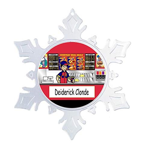 Printed Perfection Personalized Fast Food Worker Male Snow Flake Christmas Ornament Friendly Folks, Gift, Fast Food Server, Sonic, McDonalds, Burger King, hardees, Wendys, Sonic (King Foods Burger)