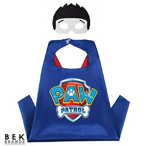 Paw Patrol Halloween Costumes Ryder (Kids Dress Up Cape and Mask Costume for Superhero Party Favors, Halloween, and More (Ryder with Emblem))