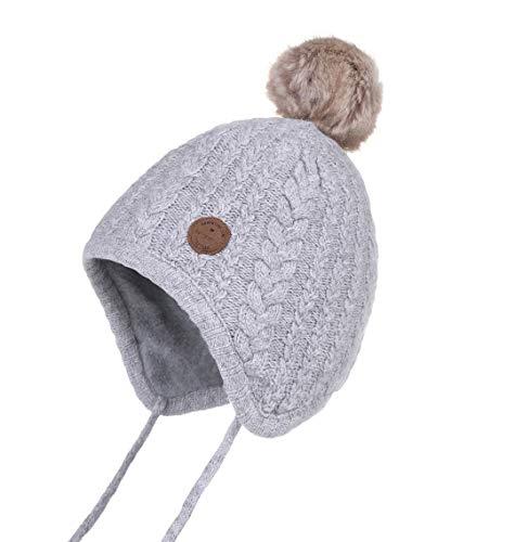 Jastore Baby Boy Girl Cute Crochet Beanie Earflaps Hats Infant Knit Winter Warm Cap Grey, M(Fit 6-18 Months)