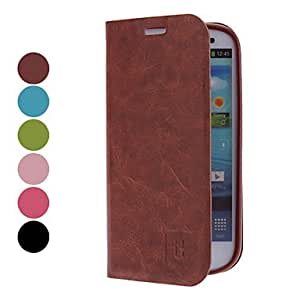 MOVSOINA PU Leather Case for Samsung Galaxy S3 I9300 (Assorted Colors) --- COLOR:Brown