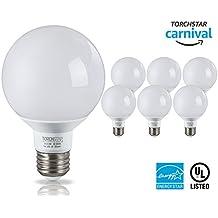 G25 Globe LED Light Bulb, 5W (40W Equiv.), 360° Uniform Light UL Energy Star, 5000K Daylight Non-dimmable Vanity Style for Make Up, Pendant, Bathroom, Dressing Room, Pack of 6