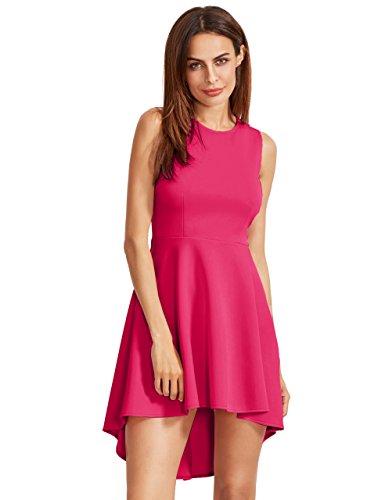 Shirt Women's Swing Romwe Rose Casual Sleeveless Dye Dress Tee Tunic Tops V Tie Neck Pagdq