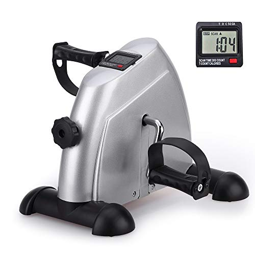 Portable Exercise Bike, Under Desk Mini Pedal Exercises Bike Foot Cycle Therapy Leg and Arm Peddler Recovery Medical Machine, Mini Desk Bike for Office Use