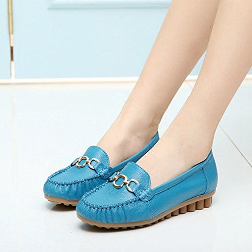 GIY Womens Casual Driving Loafers Comfort Flats Slip-On Buckle Round Toe Penny Loafer Walking Boat Shoes Blue rUL7hP6ErD