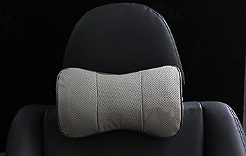 Autosunshine Nackenstütze Kopfstütze Komfortables Kissen Echt Leder Knochenförmig Grau No Logo Universal Auto