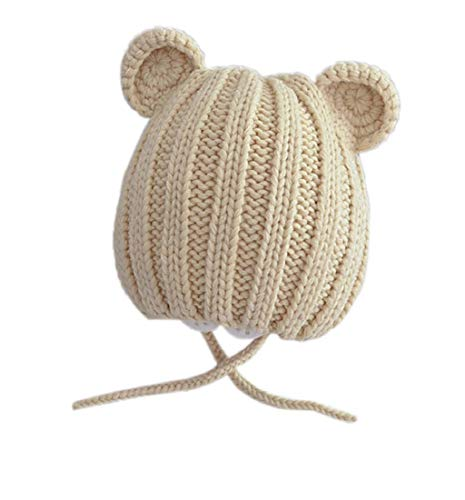Putars Cute Sleeves Warm Ears Hat Baggy Hat Cable Knitted Thick Caps with Ears