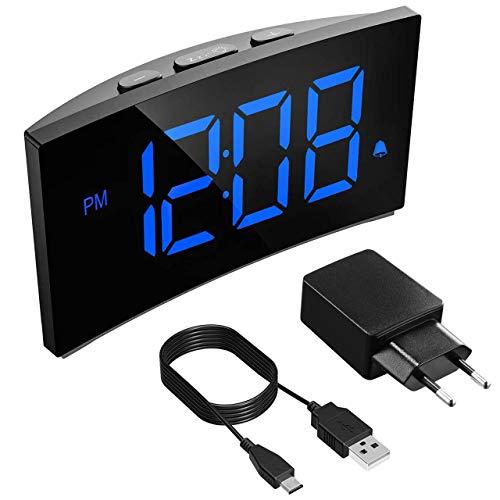 Holife Reloj Despertador Digital, 2019 Despertadores Digitales de Pantalla Curvada con Números Grandes, con 3 Sonidos de Alarma,Función Snooze, 2 ...
