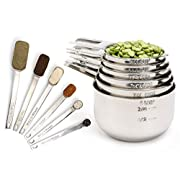 #LightningDeal Simply Gourmet Measuring Cups and Spoons Set of 12 Stainless Steel for Cooking & Baking