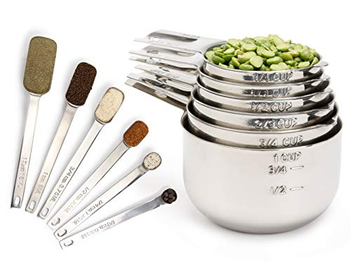 Simply Gourmet Measuring Cups and Measuring Spoons Set Stainless Steel Measuring Cups and Spoons Set of 12. Liquid Measuring Cup or Dry Measuring Cup Set. Stainless Measuring Cups, Nesting Cups (Best Dry Measuring Cups)