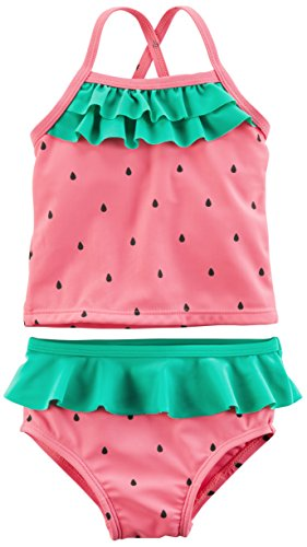 (Carter's Girls' Two-Piece Swimsuit, Pink Watermelon, 18 Months )