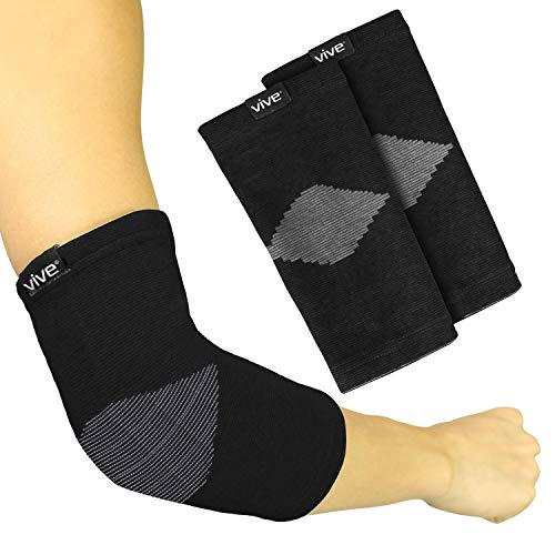 Vive Elbow Sleeve (Pair) - Bamboo Charcoal Compression Support Brace for Tendonitis Prevention