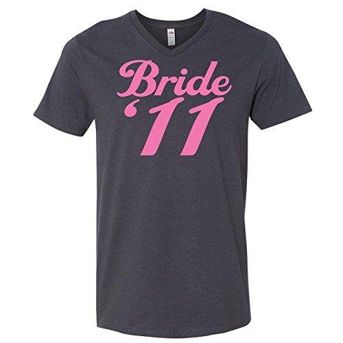 Inktastic Bride '11 Men's V-Neck T-Shirts X-Large Charcoal Grey