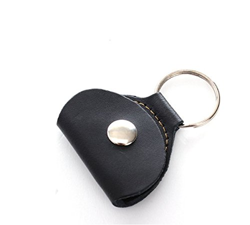 JIKUO Chic Guitar Picks Holder Case Leather Keychain Plectrum Case (Black)