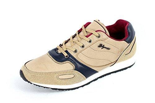 Hombres Con Cordones Zapatillas De Piel Informal Footing Zapatos Para Andar Diseñador Gym Nuevo Talla Beige