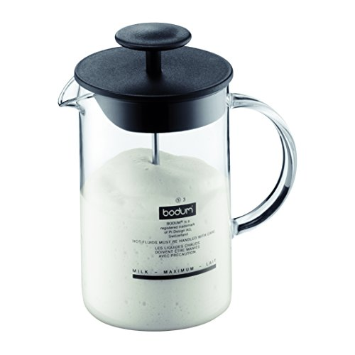 Bodum Latteo Glass Milk Frother with Handle and Black Lid, 8 Ounce