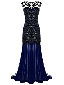 FAIRY COUPLE 1920s Floor-Length V-Back Sequined Embellished Prom Evening Dress D20S004
