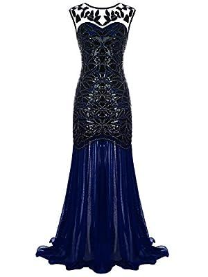 FAIRY COUPLE 1920s Floor-Length V-Back Sequined Embellished Prom Evening Dress D20S004