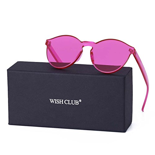 WISH CLUB Cat Eye Rimless Sunglasses for Women Oversized Lightweight Transparent Glasses Candy Color Eyewear - Sunglasses Clear Cheap