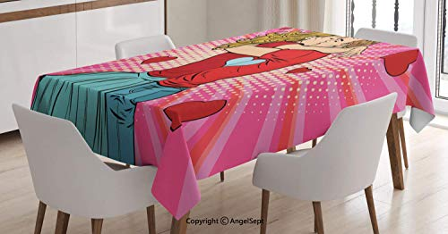Rectangle Tablecloth,Pop Art Style Image Couple Kissing Each Other Passionately on a Romantic Date,for Rectangle Table,Multicolor,5586 inch -