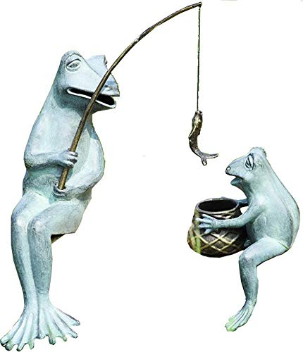 (SPI Home 33671 Fishing Frog Mama and Baby Garden Sculpture)