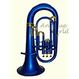 Antiques World Bb Flat Blue Brass Euphonium With Free Hard Case Mouthpiece AWUSAMI 035