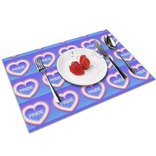 HNUIH Heat-Resistant Non-Slip Neon Glowing Rainbow Heart Placemats, Easy to Clean Stain Resistant Washable Placemat Set of 4