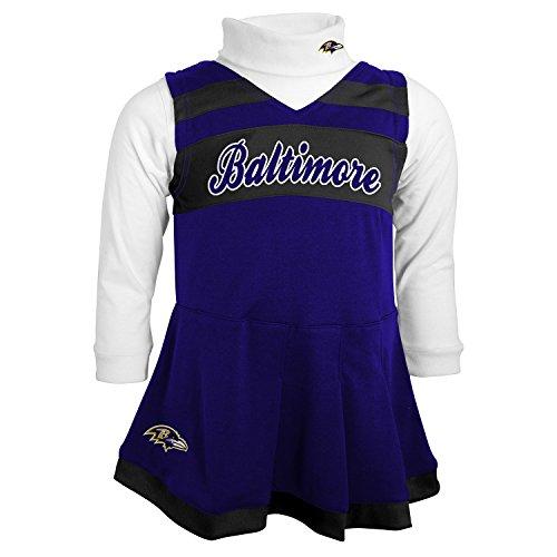 NFL Baltimore Ravens Girls Cheer Jumper Dress with Turtleneck Set, Rav Purple, 4T