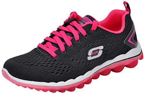 (Skechers Sport Women's Skech Air Run High Fashion Sneaker, Charcoal Pink, 8.5 M US)