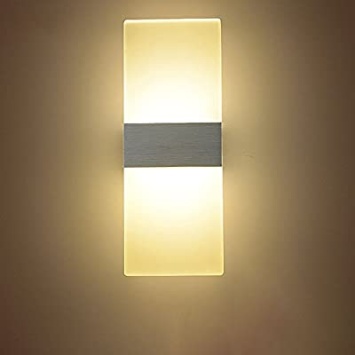 NAVIMC Modern Acrylic 6w LED Wall Sconces Aluminum Lights Fixture On/Off Decorative Lamps Night Light for Pathway, Staircase, Bedroom, Balcony ,Drive Way,Warm white (3500-4500K)