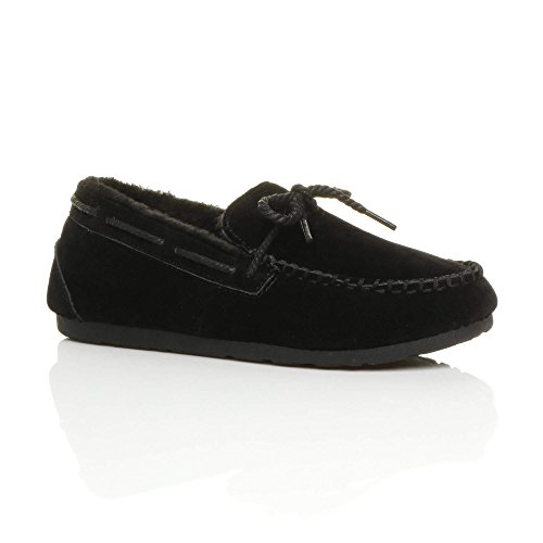 Womens ladies fur lined flexible sole boat shoes moccasins slippers size 3 36