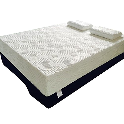 12' Mattress (Oshion Three Layer Queen Size Cool Medium Firm Memory Foam Mattress Bed + 2 Pillows (12'' (3+3+6)))