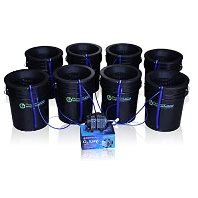 "Deep Water Culture (DWC) Hydroponic Bubbler 8 Bucket Kit with 10"" Lids by PowerGrow ® Systems"