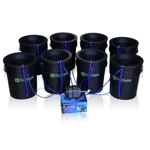$199.95 Hydroponics Kits Deep Water Culture (DWC) Hydroponic Bubbler 8 Bucket Kit with 10″ Lids by PowerGrow ® Systems 2019