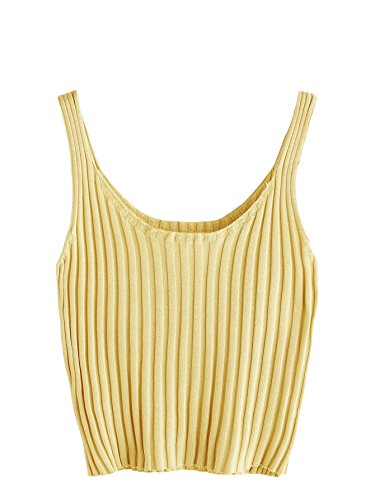 SweatyRocks Women's Ribbed Knit Crop Tank Top Spaghetti Strap Camisole Vest Tops (One Size, Yellow) (Knit Ribbed Top Tank)