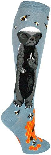 Modsocks Womens Honey Badger Knee High Socks In Slate Blue  Fits Most Women Shoe Size 6 10